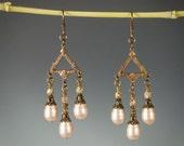 Art Deco Earrings with Vintage Brass & Swarovski Crystal Pearls