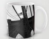 Mug - NYC - Brooklyn Love - New York City - Black & White - Bridge Ocean Nautical Coastal Seaside - Ceramic Coffee Tea Latte 11oz / 15oz