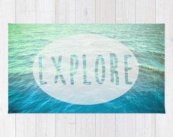 Rug - Explore - Home Decor - Carpet - Ocean - Adventure - Nautical - Houseware - 2x3 / 3x5 / 4x6