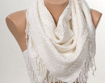 WHITE and Silver SCARF with fringe. New Shawl Scarf. For 4 seasons. For her. On Sale. Mothers Day scarf.
