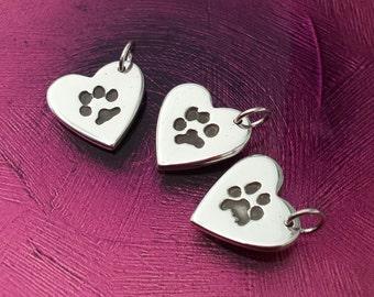 Paw Print Jewellery - Medium Heart Charm