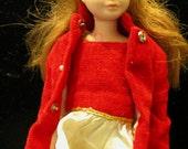 1964 TITAN SKIPPER Vintage Barbie Doll Sister Skipper in Original Red Velvet Dress and Coat