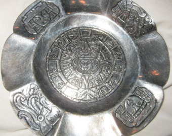 Aztec Sundial Plaque Sterling Silver Dish Superb Handsome Sterling Silver Mexican Aztec Sundial Mayan Calendar Ashtray Scalloped Dish Plate