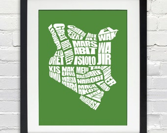 Kenya Word Map - A typographic word map of the Cities of Kenya, Print or Canvas, Custom Color, Kenyan Typography, Home Decor Wall Art