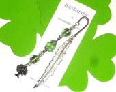 Wire-wrapped beaded bookmark, Metal feather bookmark, Green beaded bookmark, Tree charm, Mermaid charm,  Book lover gift, Metal bookmark