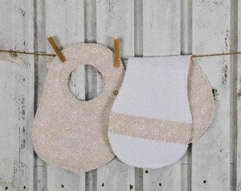 beige burp cloth bib set for babies,matching mommy's shoulder towel