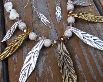 Western gold and silver leaf with white magnesite necklace and earring set