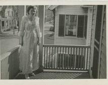 Gal in Robe on First Floor Balcony: c1940s Vintage Photo Snapshot