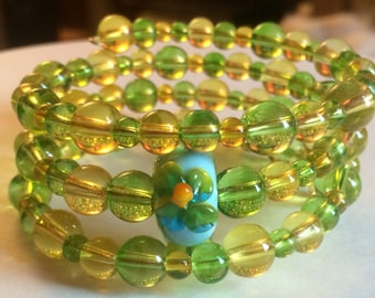 "Colorful ""Springs First Flower"" Beaded Memory Wire Bracelet"