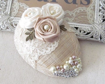 Bridal Hat  / Country Chic Fascinator / Mini Bridal Hat / The Abigail-Rose Mini Hat