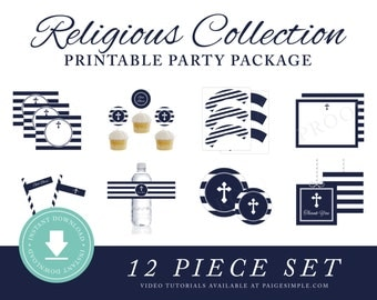 INSTANT DOWNLOAD Religious Printable Party Package (First Communion Decorations, Baptism Decorations, Christening Decor, Religious Boys)
