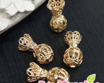 CH-ME-02286 - Gold plated,Petite Perfume charm, 4 pcs