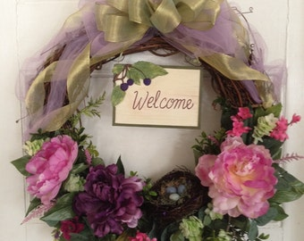 Welcome Wreath, Summer Wreath, Grapevine Wreath, Spring Wreath, Peony Wreath, Mother's Day