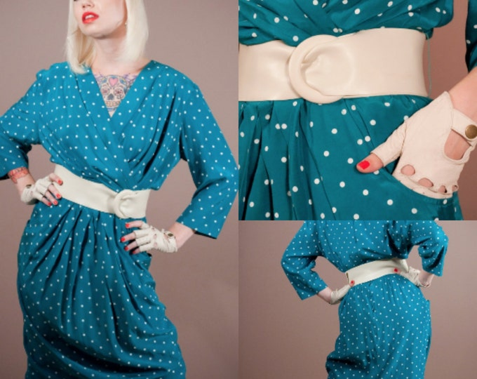 1980s Vintage Teal Polka Dot V Neck Dress VLV