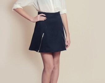 Black Skater Skirt with Exposed Zippers