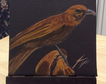 Little Brown Bird - Tiny Original Painting - Last day at this SALE price