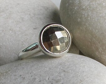 Rustic Pyrite Ring- Round Shape Gemstone Ring- Faceted Stone Gold Color Ring- Unique Stacking Statement Ring- Bezel Sterling Silver Ring