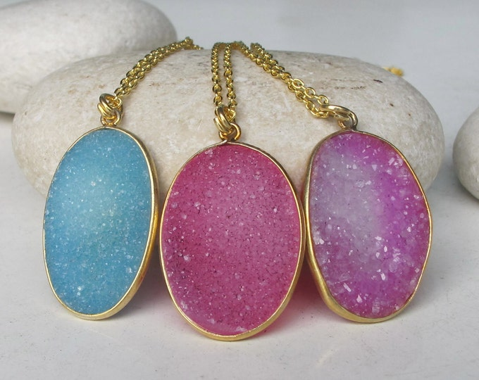 Druzy Necklace- Drusy Necklace- Gifts for Her- Stone Necklace- Gemstone Necklace- Gold Necklace- Necklace