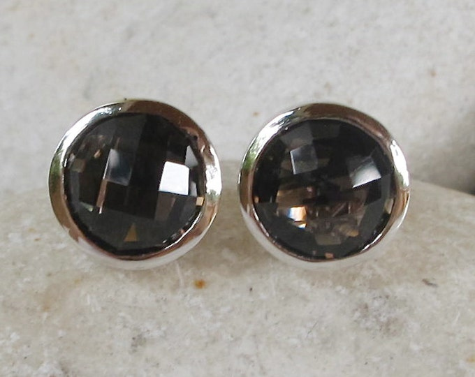 Classic Smoky Quartz Stud- Round Brown Stud Earring- Faceted Frame Earring- Sterling Silver Earring- Gifts for Bridesmaid