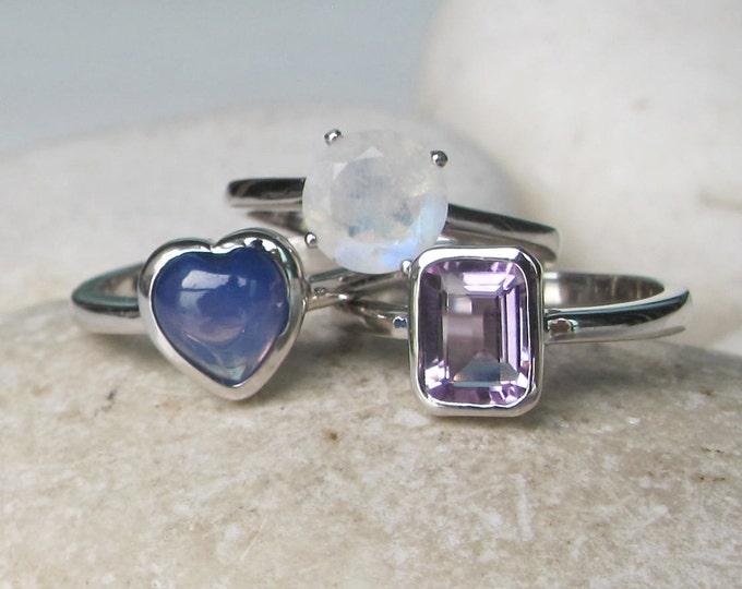 Amethyst Ring- Star Sapphire Ring- Moonstone Ring- Stack Ring- Birthstone Ring- Ring- Gemstone Ring- September, February June Birthstone