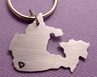 My heart belongs in Canada - A Hand Stamped Aluminum Keychain - READY to SHIP