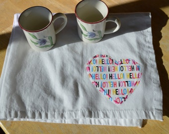 Tea towel - hand stitched applique