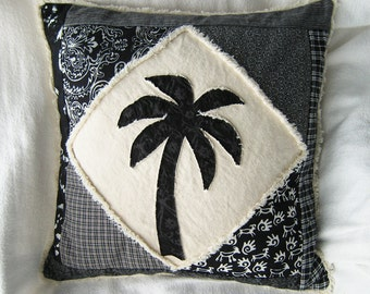 """Palm tree boho pillow cover patchwork in black and white batiks and wovens on natural denim 18"""""""