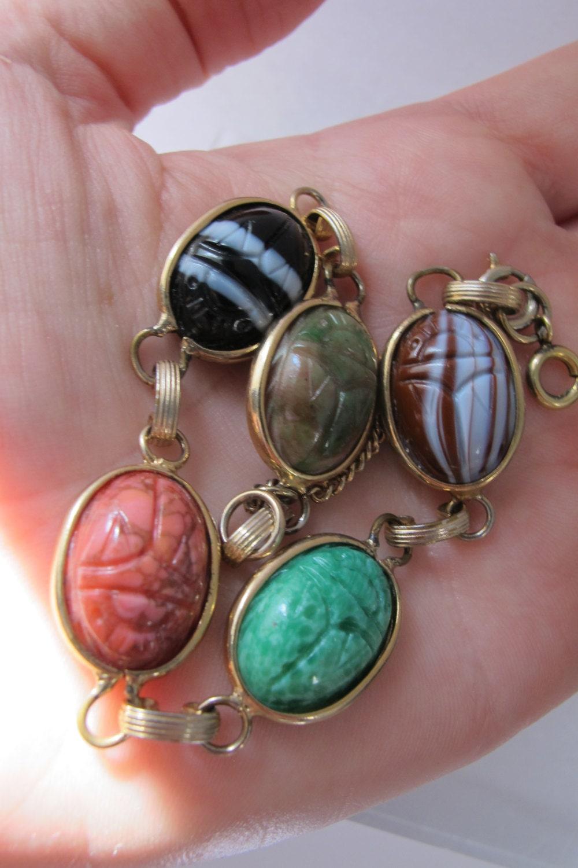 Vintage Scarab Gemstone Bezel Set Bead Chain Link Bracelet