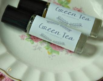 Green Tea Perfume Oil - roll on perfume - coconut oil perfume - aromatherapy - essential oil - 10ml glass bottle