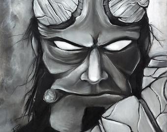 Hellboy illustration charcoal pastel giclée fine art wall print 8x10