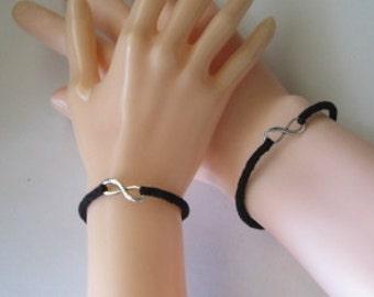 Black kumihimo braid bracelet - infinity symbol - his and hers