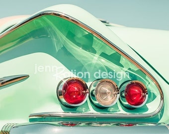 Car Photography, Chevy Bel Air Impala, 1958, Classic Car Photo, Gift for Car Lover, All-American, Aqua, Mint Green, Green Photograph Print