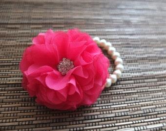 Wrist Corsage, Chiffon Flower Corsage (Fuchsia ), Hot Pink Corsage, Chiffon Rose corsage