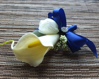 Boutonniere, Ivory Calla Lily and Royal Blue Boutonniere, Ivory Calla Lily Corsage