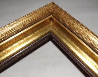 16x20 Ready to Ship Picture Frame ~ Gold Mine Metallic Accent ~ Chunky Moulding ~ 1 1/2 inch Wide x 3 inch tall x 1 inch rabbit