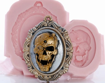 Skull Cameo Silicone Mold with Cameo Mount Mold Set - Jewelry Mold - Resin Mold - Clay Mold - Food Safe - Gothic Day of the Dead Mold (265