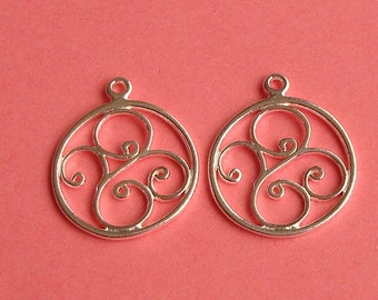 10 Pieces,  Round Swirl Charms, Sterling Silver .925, 14.1x16.8mm, Closed / Soldered Loop, SCHP142