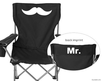 Mr, Camping, Sports, Folding Chair // Solid or Glitter Vinyl // Wedding, Marriage
