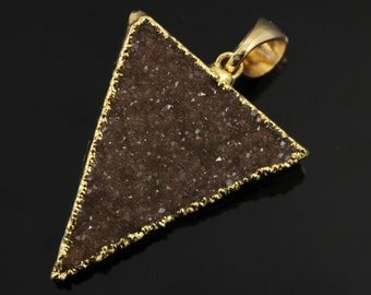 Dazzling Druzy Triangle Pendant in Stunning Earth Tones, Heavy Gold Plated, 29x33mm, A+ Gorgeous Quality, Electroplated Edge (DZY/TRI/133)