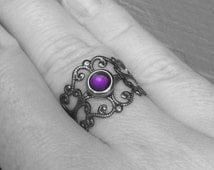 Adjustable Filigree Ring, Resin Jewelry, Purple Womens Gothic Design, Ornate Scrollwork, Metal Cutout