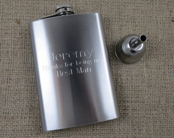 8oz Flask with Funnel - Groomsmen - Gifts for men - Best Man