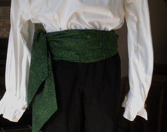 Pirate Sash,  Green. Cotton.