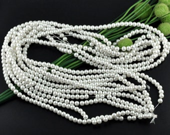 "White Glass Pearl Round Beads 8mm, 1 16"" strand of 53-55 beads"