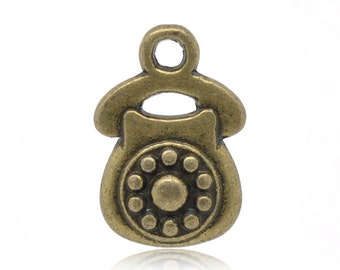 5 Pieces Antique Bronze Telephone Charms Pendants 15x10mm