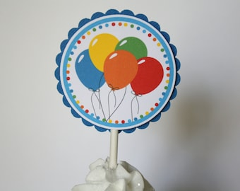 Colorful Balloons Cupcake Toppers - Set of 12