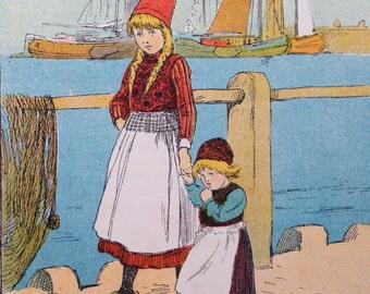 1914 HOLLAND DUTCH CHILDREN Lithograph Print