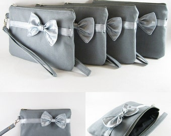 SUPER SALE - Set of 5 Gray with Little Silver Bow Clutches - Bridal Clutch, Bridesmaid Wristlet, Wedding Gift, Zipper Pouch - Made To Order