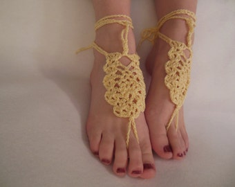 Sunshine Yellow Crochet Barefoot Sandals
