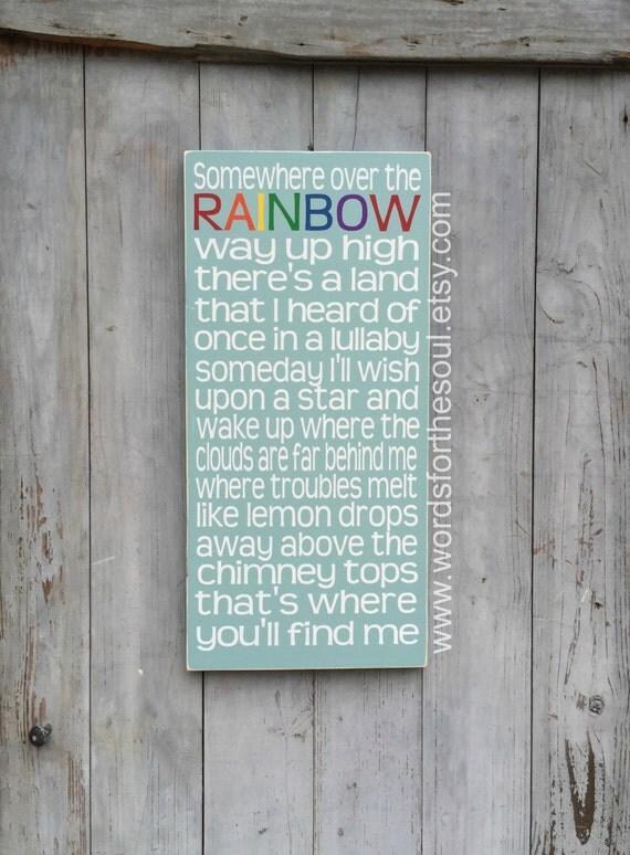 Nursery Wall Art - Rustic Wood Signs - Child Wall Art - Somewhere Over the Rainbow  -Wood Sign - Wall Hanging Decor - Nursery Decor