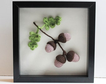 3D Wall Art - Crochet Nature - Wall Hanging - Crochet Oak Branch with Acorns and Leave - Wedding - New Home - Christmas - Retirement Gift